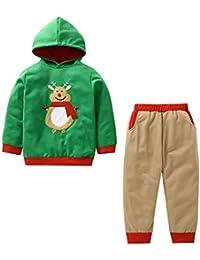 bauycy Hoodie Kinder Jungen und Mädchen Sweatshirts Langarm-Shirt + Hosen Zweiteilige Anzug Elch Bestickt Weihnachten Anzug lässige Sport Pullover