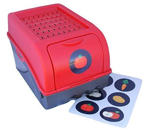 Vorratsdose für Kartoffeln, Gemüse, Obst, Zwiebeln, Aufbewahrungsbox, Kunststoff, Volumen von 7,7 Liter + 6 Aufkleber mit Gemüsesorten (Rot)