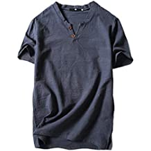 Camisetas Hombre,SHOBDW Verano de Lino Liso Algodón Talla Grande Botón de Manga Corta Camiseta