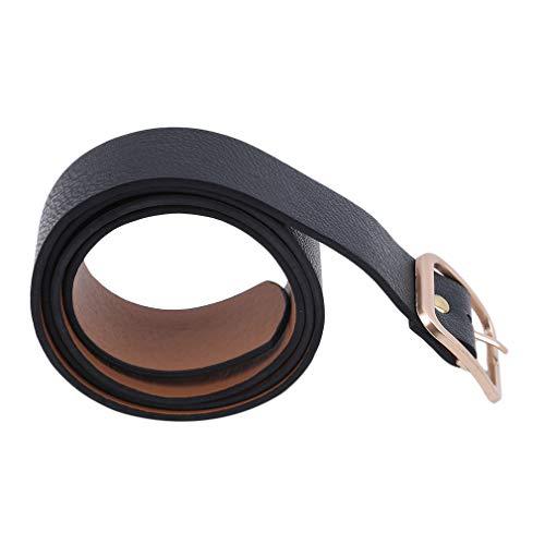 MOONQING Damen Leder Jeans Gürtel für Hosen Taillengürtel Square Ring Buckle, Gold (Buckle Jeans Für Frauen In Größe 32)