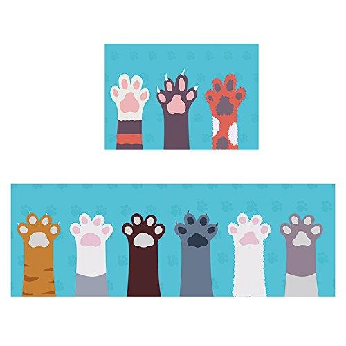 Küche Teppichen Mit Indische (BAGEHUA Maßgeschneiderte Geometrische Teppich Cartoon Küche Lange Rutschfeste Matte Kinderzimmer Matten Schlafzimmer Erker Decke, 60 × 200 Cm, Cartoon Katze E)