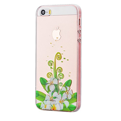 GrandEver iPhone 5S Hülle, iPhone SE Weiche Silikon Bumper und Hardcase Strass Diamant Hart Backcover Transparent Glitzer Handyhülle mit Blumen Muster Schlank HandyTasche Flexible Bling Schutzhülle Zu Lilie