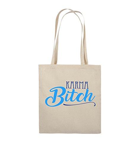 Comedy Bags - KARMA BITCH - Jutebeutel - lange Henkel - 38x42cm - Farbe: Weiss / Fuchsia-Türkis Natural / Royalblau-Hellblau