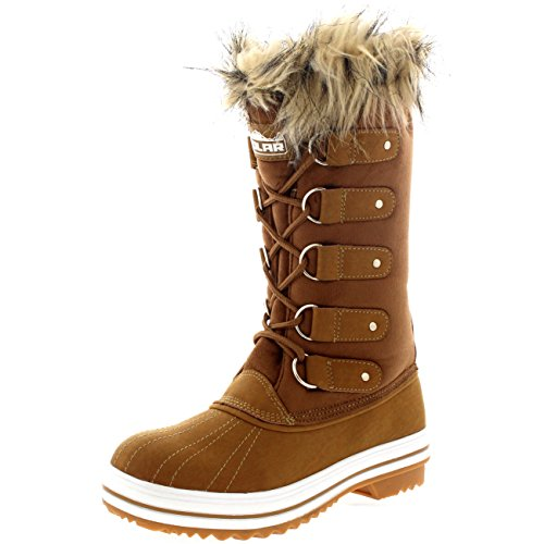 Womens Cuff Lace Up Rubber Sole Tall Winter Waterproof Snow Rain Shoe...