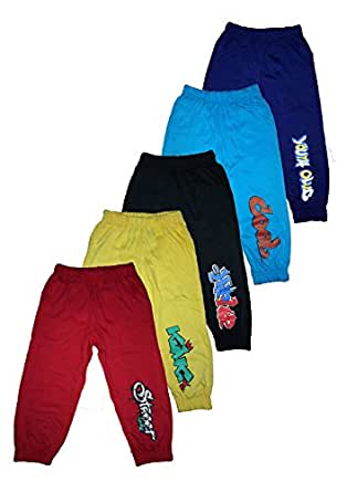 T2F kids Boys Track Pant (Pack of 5) -Red- Black- Violet- Yellow- Blue (2-3 Years)