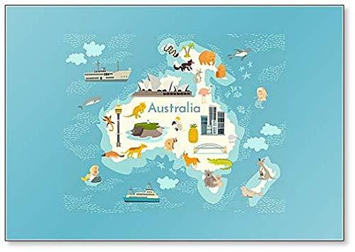 Australien Continent, Weltkarte mit Sehenswürdigkeiten Illustration Kühlschrankmagnet