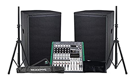 zzipp Audio System pa 4900 W enceintes amplificati/subwoofer/mixeur/Supports Bundle