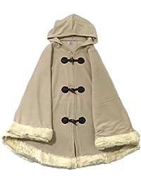 Lora Dora Womens Luxury Toggle Cape Faux Fur Trim Winter Cape Poncho Ladies Wrap One Size