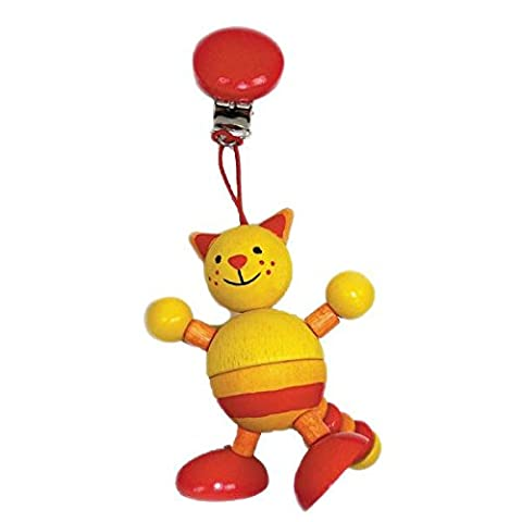 Hess Wooden Baby Toy Figurine Chain Cat Clip On