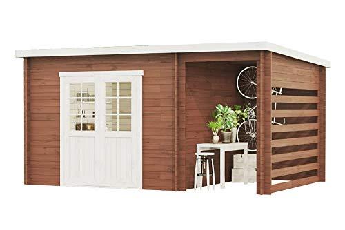 Carlsson Garten Blockhaus MARIA-28 Compact - Holz Gartenhaus mit Tür & Echtglas Fenster -...