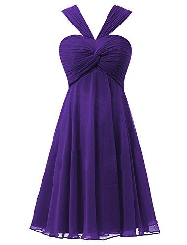 Find Dress Elégant Robe Demoiselle d'Honneur Mariage Femme Plissé Robe pour Soirée/Cocktail/Cérémonie Courte à la Mode sans Manches en Mousseline Souple Pourpre