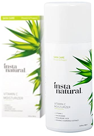 InstaNatural Vitamin C Moisturizer Cream - Facial Anti Aging & Wrinkle Reducing Lotion for Men & Women - With Hyaluronic Acid & Organic Jojoba Oil - Hydrating for Dry, Sensitive, & Oily Skin – 100 ml