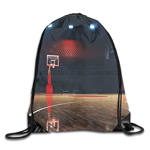 YOWAKi Printed Drawstring Backpacks Bags,Picture of Empty Basketball Court Sport Arena with Wood Floor Print,Adjustable String Closure -