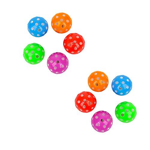 Kunststoff-Trainingsball Sport Kunststoff aushöhlen Tennisball Hunde-Kugel Hohle Jingle Bell-Ring-Kugel-Spielwaren kleine Glocke Runde Kugel Rollen zufällige Farbe 10Pcs -