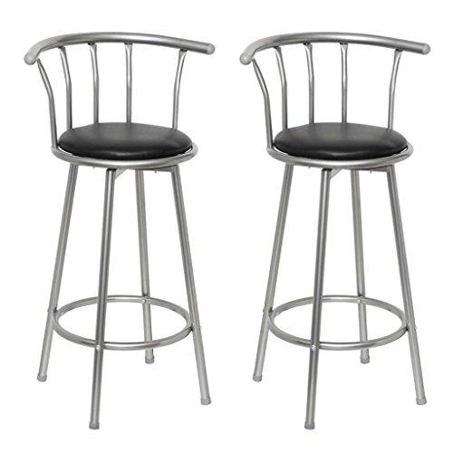 vidaXL Lot de 2 tabourets de bar cuisine design Louisiane acier & simili cuir noir hauteur d' assise 75 cm