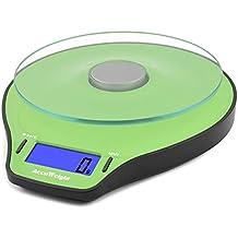 Accuweight Báscula de Cocinadigital, Peso de Cocina, 5 Kg max, Vidrio, Color verde