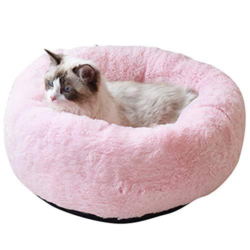 BVAGSS Cama para Mascotas Relajante Cama Redonda Nido Cálido para Gatos y Perros Pequeños XH029 (S, Pink)