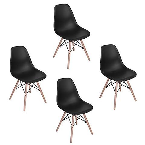 Eggree Lot de 4 chaises design tendance rétro eiffel bois chaise de salle à manger - Noir