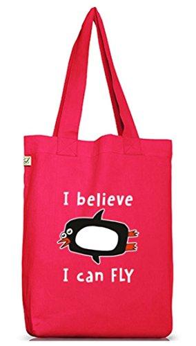 Lustiger Jutebeutel Stoffbeutel Earth Positive mit I Believe I Can Fly Motiv Premium, Größe:...