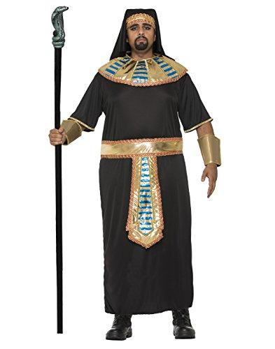 Men's Egyptian Pharaoh Plus Size Costume Robe Roman King Tut Gold Black Adult (Kings Robe)