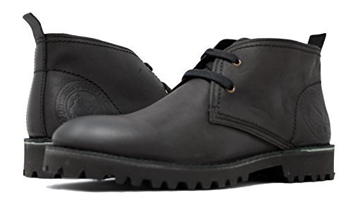PORTMANN Chukka Boots, Herren Desert Boots, Schwarz - Oiled Black Nubuck - Größe: 45 (Leder Chukka Schwarz)