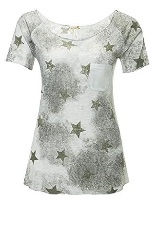 Key Largo Damen T-Shirt Kurzarmshirt Print Shirt (M, Khaki)