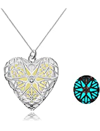 Yellow Chimes Glow-in-the-dark Heart of Atlantis 925 Silver Plated (Hallmarked) Locket cum Pendant for Girls and Women