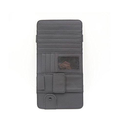 sourcingmap® 7 CD Schlitze 4 Kreditkarten Taschen PU Leder Auto Sonnenblende Halter schwarz