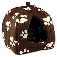 PET PAW PRINT DESIGN IGLOO PET DOG CAT PYRAMID BED HUT