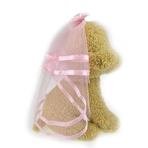 Kostüm Katze Kopfbedeckung (Schleier für Hunde kleine Hunde Katze Hochzeit Schleier Kleid Braut Kostüm Hund Haar Schleife Clips Haarspange mit Kopfbedeckungen Hund Haar)