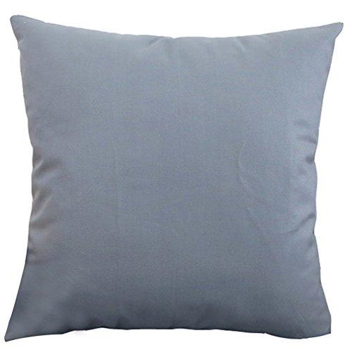 Plusieurs solide Couvre-lit Taie d'oreiller Housse de coussin Livebycare Lin Coton Pilllowcase d'oreiller Sham Fermeture Éclair pour chambre à coucher Canapé Chaise Siège arrière, Coton, Greyish Blue, 35*35cm WITH INSERT