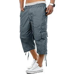 ITISME Bermudas Hommes Ete Outdoor Cotton Casual Short Cargo Couleur Unie Lâche Pantalon Court