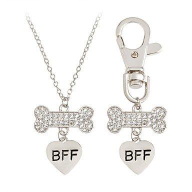 huayifang 2pcs corazón de mejores amigos Bff collar llavero hueso de perro regalo perro, B