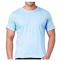 Santhome Round Neck Cotton Polo T-Shirt for Men - Sky Blue
