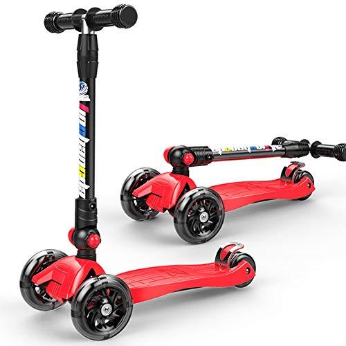 Double Beauty D.B Kinderscooter Rot Dreiräder Kinderroller Roller Scooter LED Blinken für Kinder ab 3 Jahren,in 4 Höhen verstellbar,bis 55kg belastbar, mit PU Rädern (Rot)
