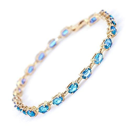 QP joailliers Bracelet en or 9ct Topaze Bleu naturel, 5,50carats Coupe ovale-1511y