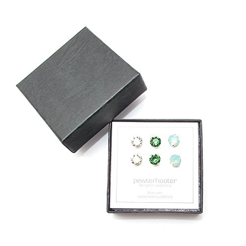 end-of-line-clearance-3-pairs-of-sterling-silver-stud-earrings-handmade-with-luminous-green-pacific-