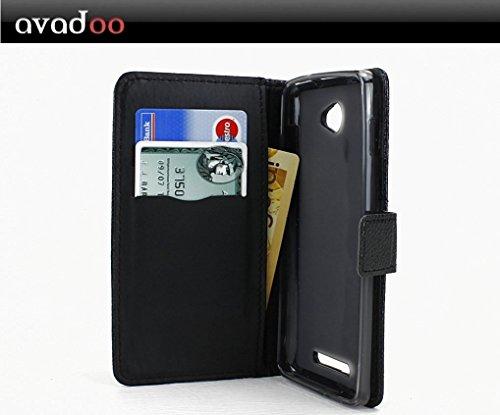 avadoo® Archos 50 Helium 4G Flip Case Cover Tasche Schwarz mit Magnetverschluss und Dualnaht als Cover Tasche Hülle