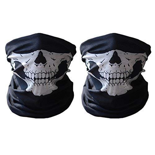 ECOMBOS 2pcs Multifonction Tour de Cou Cagoule Microfibre Crâne Tête de Mort Chapeaux Tube Masque Visage (Blanc&Blanc, Unique)