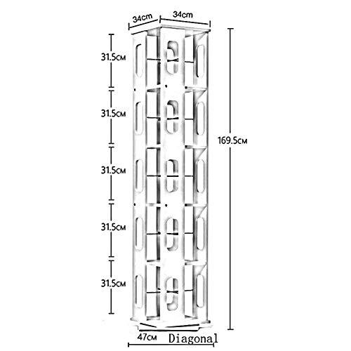 Kapazität Cd-ablage (MDD Regal, Regal; Drehbarer Bücherregal-Stand-Bücherregal-Eckschrank Große Kapazität, platzsparend und einfach zu installieren,Weiß + schwarz,5 Tier)
