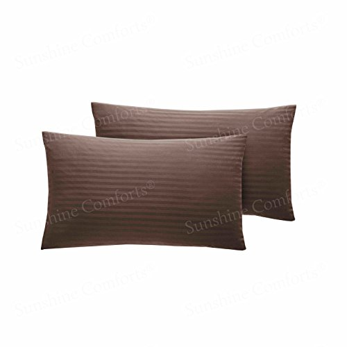 Sunshine Komfort® 300Fäden Zählen Ägyptische Baumwolle Streifen Kissen Fällen Chocolate Brown