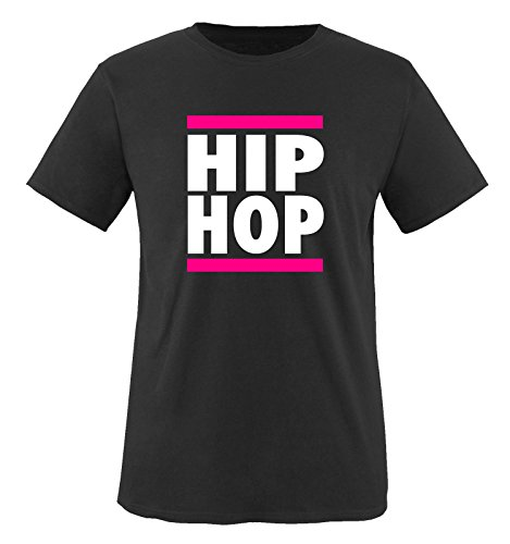Comedy Shirts - HIP HOP - Kinder T-Shirt - Schwarz / Weiss-Pink Gr. 122-128 (T-shirt Hip Schwarzes Hop)