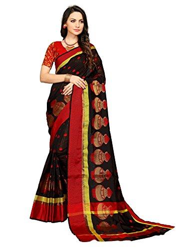 Indira Designer Women's Black Color Banarsi Cotton Saree With Pendant & Necklace