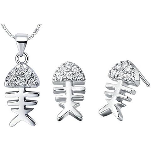 AieniD Conjunto de Collar y Pendientes Chapado en Plata Colgantes Huesos de Pescado Joyas de Moda, Plata