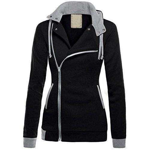 Eagsouni® Hoodies Pulli Damen Kapuzenpulli reißverschluss Rollkragen Pullover Langarm Top Jacke Sweatshirt Kapuzen Jumper