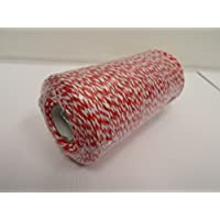 Beautiful Ribbon 2 Metros x 2mm Bakers Twine Cuerda SOGA Cuerda Hilo Blanco y Rojo Raya carnicería de 2 mm