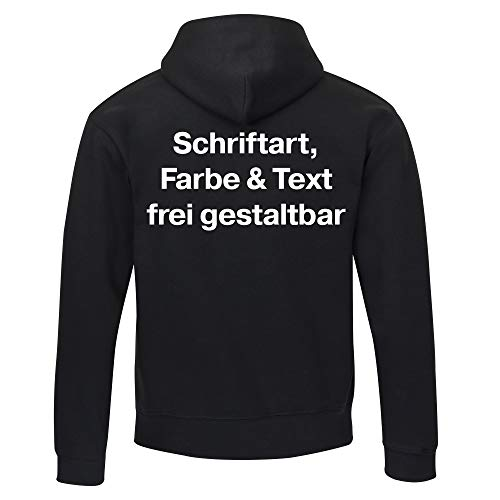 Multifanshop Kapuzen Sweatshirt Jacke individueller Druck Herren Rückseite (Anpassung von Text Schriftart Schriftfarbe Artikel Farbe) personalisiert -