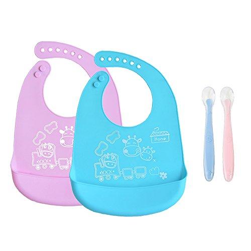 INCHANT bebé silicona babero - prueba agua, ajustables