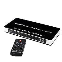 Conmutador HDMI YUNZUO versión 2.0 con división de audio HDMI4X1 cuatro entradas y 1 salida de video hdmi 4K60HZ asignación