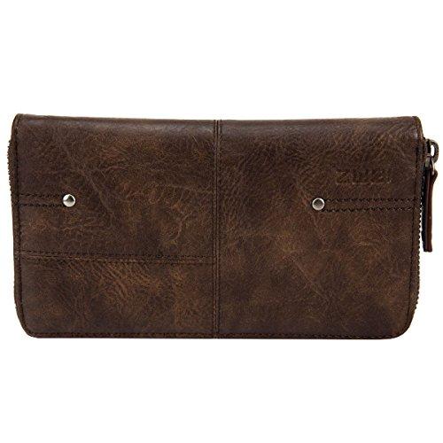 Zwei Vintage V2 Reißverschluss Geldbörse Portemonnaie Geldbeutel Brieftasche, Farbe:Brown